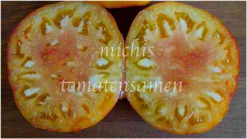 Tomate Big Rainbow * gelb/orange Frucht mit pinkem Kern* 10 Samen
